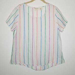 Christian Siriano Striped Linen Top S Rainbow